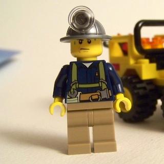 LEGO miner minfigure cavort