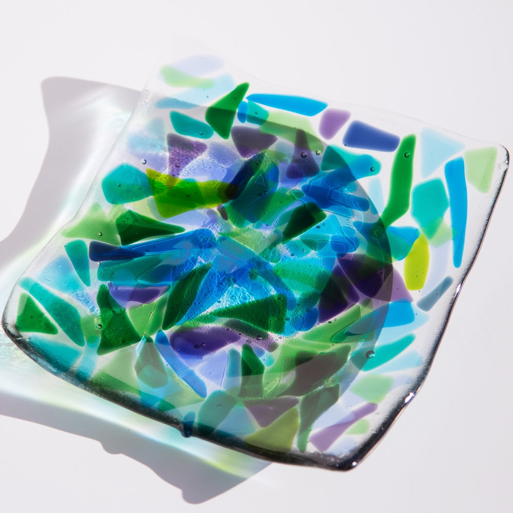fused glass plate, one of a kind fused glass art, sassy glass studio