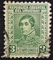Sello de 3 centésimos, con la imagen del General Fructuoso Rivera, Uruguay