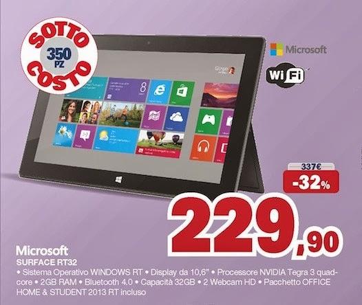 Sottocosto microsoft surface rt32 in offerta natalizia - Unieuro porta tv ...