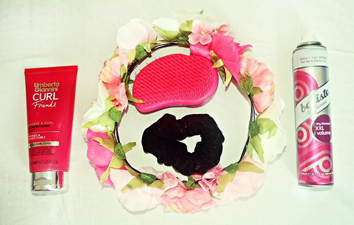 umberto giannini curl friends scrunching jelly, scrunchie, tangle teezer, primark flower crown, batisse xxl volume