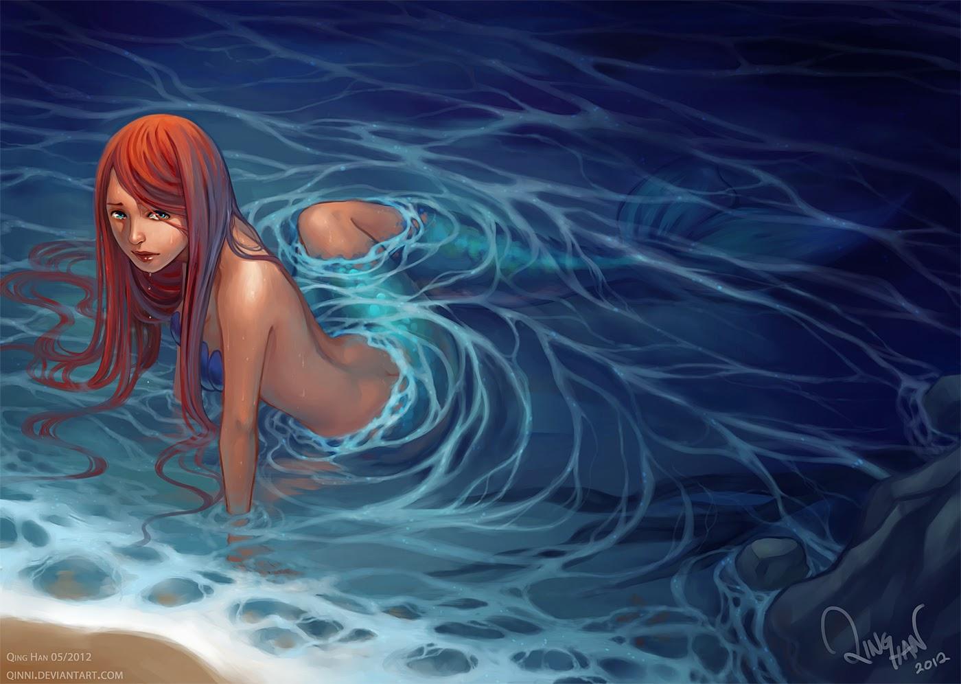 illustration de Qing Han d'une sirène au bord d'une plage