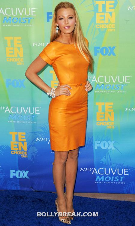 Blake Lively Orange Dress - (12) - Celebrity Pictures in Neon Dresses - Bollywood, Hollywood