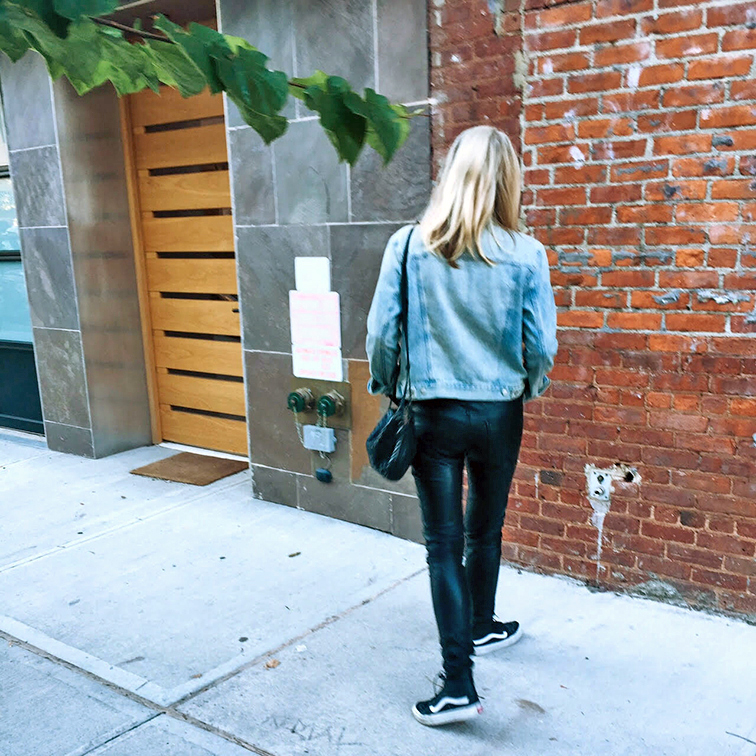 Gap denim jacket, Trash & Vaudeville vegan leather pants, Vans leather high top sneakers, Raen Arkin sunglasses