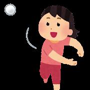 ボールを投げる女の子のイラスト