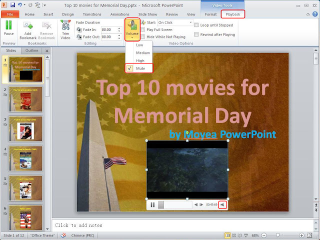 Mute video in PowerPoint