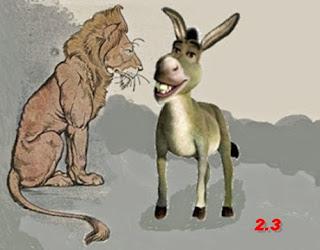 L'asino e il leone a caccia insieme (Esopo)