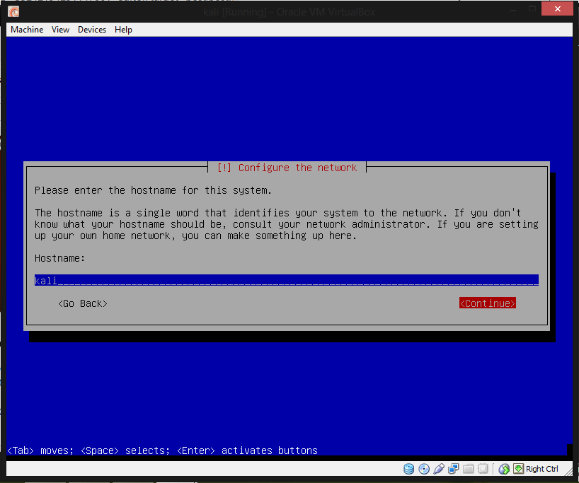 how to set uyp kali linux virtual box