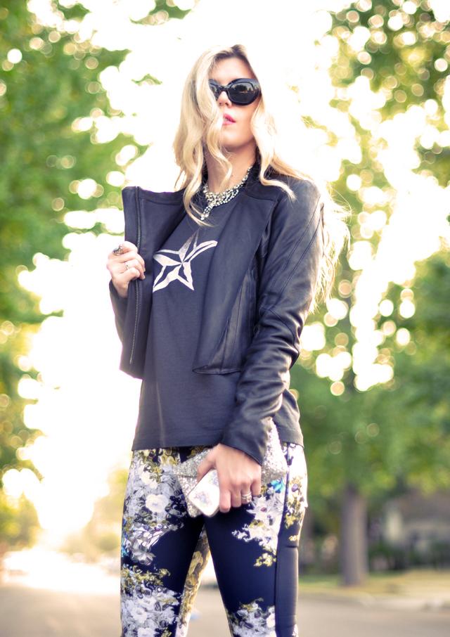 leather moto jacket, vintage, floral pants, biker jackets