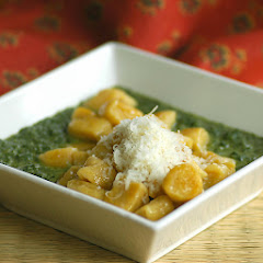 Butternut Squash Gnocchi with Spinach Sauce
