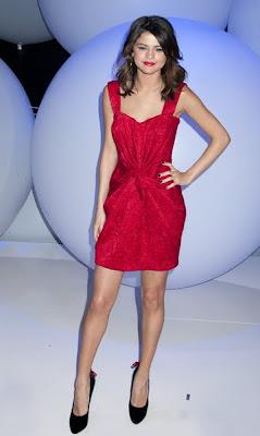 Selena Gomez Wearing a red Dolce & Gabbana Dress
