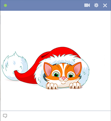 Kitten inside Santas Hat Facebook Sticker