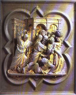 When Uccello joined Ghiberti, his master was working on early panels for the first set of doors for florence's  baptistry
