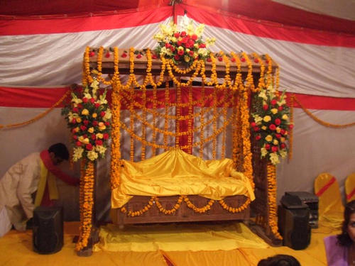 Neo bollywood mehndi ceremony decoration designs setups for Mehndi decoration