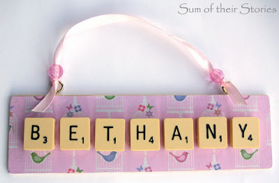 DIY name ornament with scrabble tiles