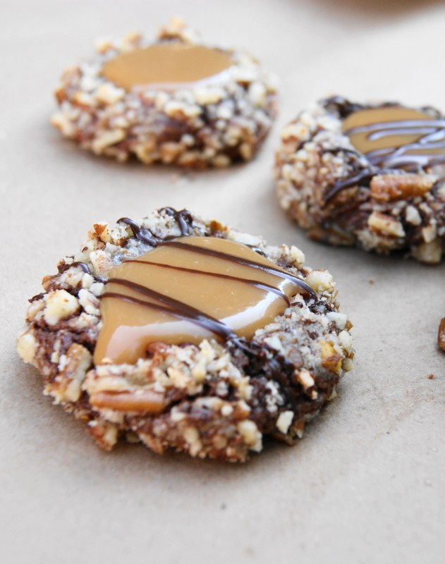 Delicious Turtle Cookies ... soft chocolate-pecan thumbprint cookies ...