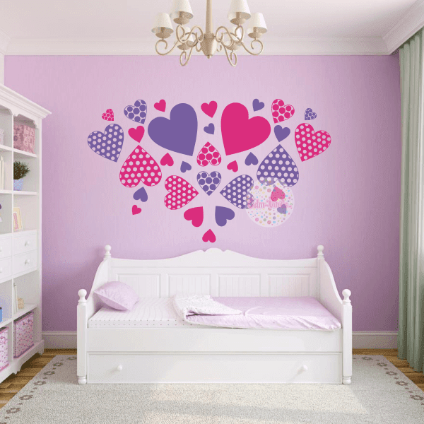 Vinilos decorativos corazones respaldos de cama cabeceros - Vinilos decorativos dormitorio ...