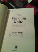 Signed copy of The Blinding Knife by Brent Weeks