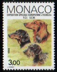 1988年モナコ公国 ダックスフンド(ロング、スムース、ワイヤー)の切手