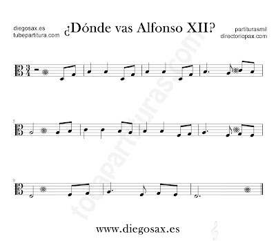 Dónde vas Alfonso XII partitura para viola en clave de Do