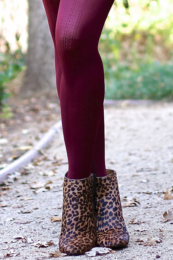 leopard booties burgundy tights