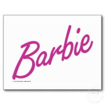 cursive dark pink barbie logo post cards