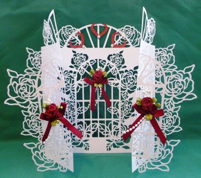 Christmas Rose Window Door Card