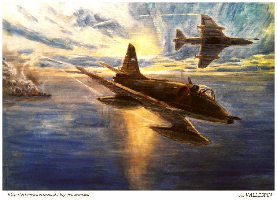 Óleo de Skyhawks atacando al HMS Conventry Malvinas 5