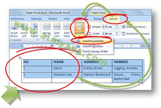 Gambar: Cara meminimalkan lebar kolom dengan cara membuat autofit kolom tabel di Microsoft Word