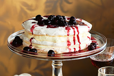 Triple-layered vanilla pavlova with cherry sauce Recipe