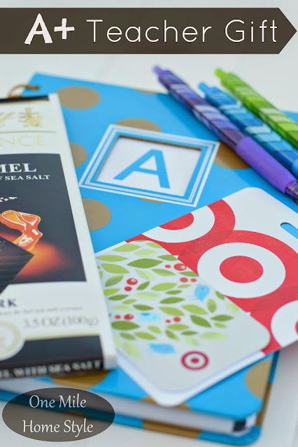 A+ Teacher Appreciation Gift   One Mile Home Style - journal, pens, chocolate and gift card