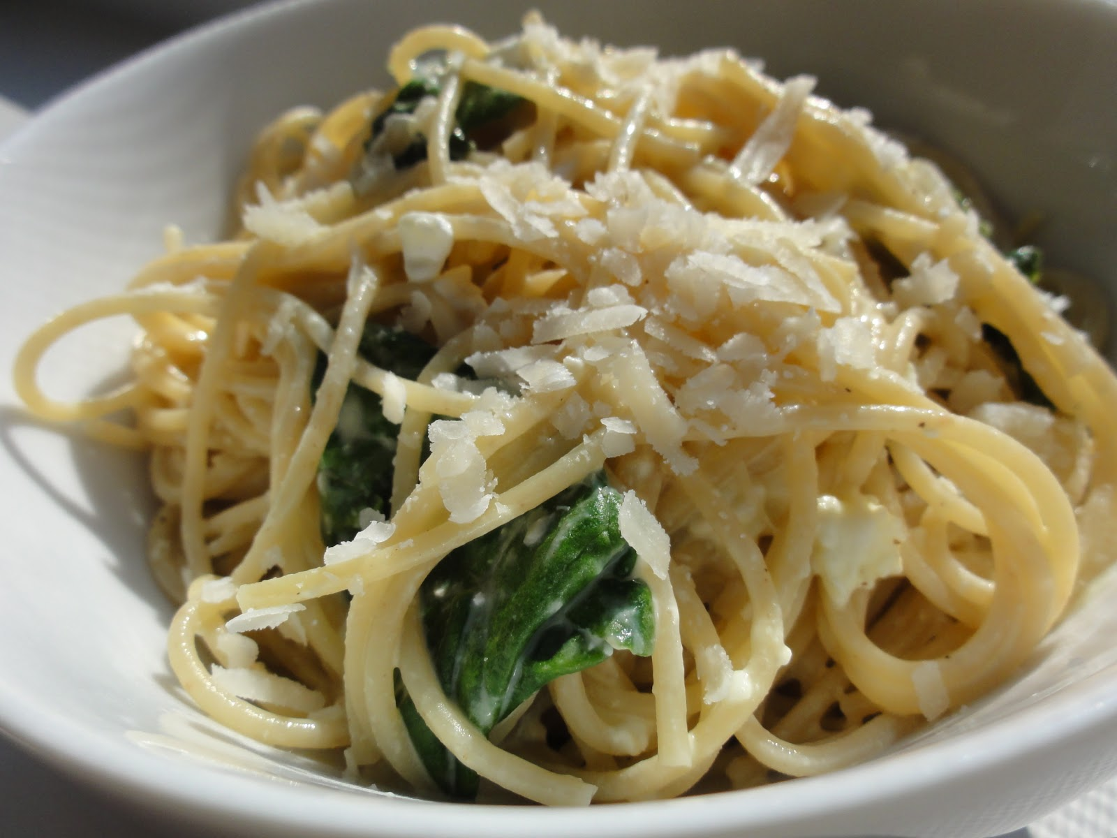 ... Ever After - The Jolly Oak Blog: Skinny Pasta Alfredo with Spinach