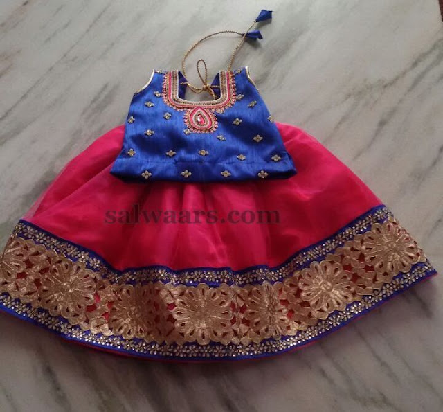 Simple Patch Lehenga with Rich Blouse
