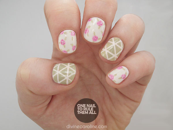 Geometric Roses Nail Art Tutorial
