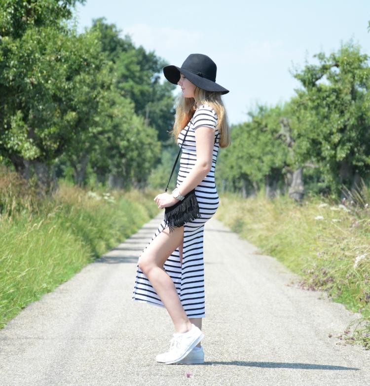 streepjes jurk met split