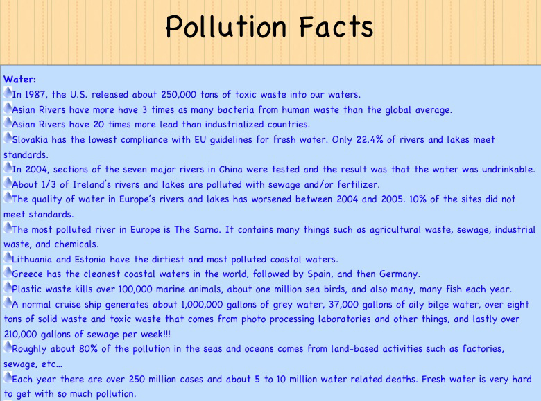 factual essay on pollution