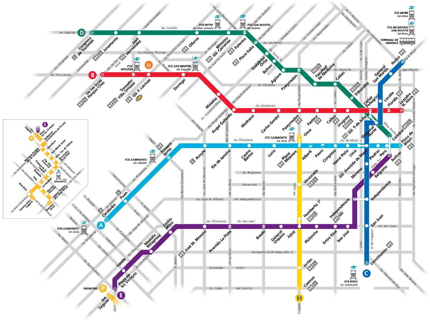 Mapa Subte Buenos Aires Argentina Horarios sábado domingo