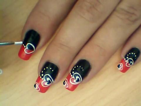 Manikir-obuka-tutorijal-3-(crveno-crni-nail-art-nokti)-006