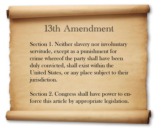 the adoption of the 13th amendment Article 5 of the constitution provides for the amendment of the constitution by various means (see the amendments page for details) however an amendment is proposed, it does not become part of the constitution unless it is ratified by three-quarters of the states (either the legislatures thereof, or in amendment conventions.