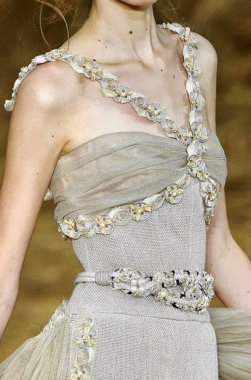 Chanel runway details: gorgeous silver dress