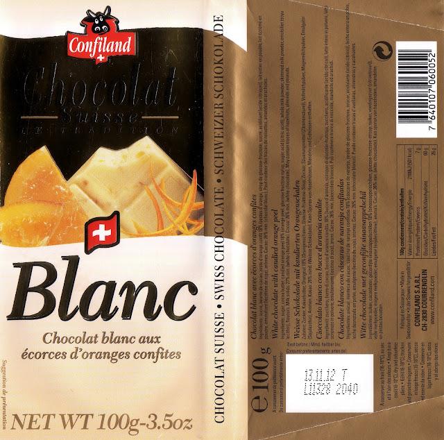 tablette de chocolat blanc gourmand confiland blanc aux ecorces d'oranges confites