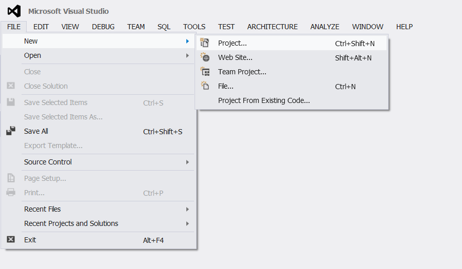visual studio project console en application wpf