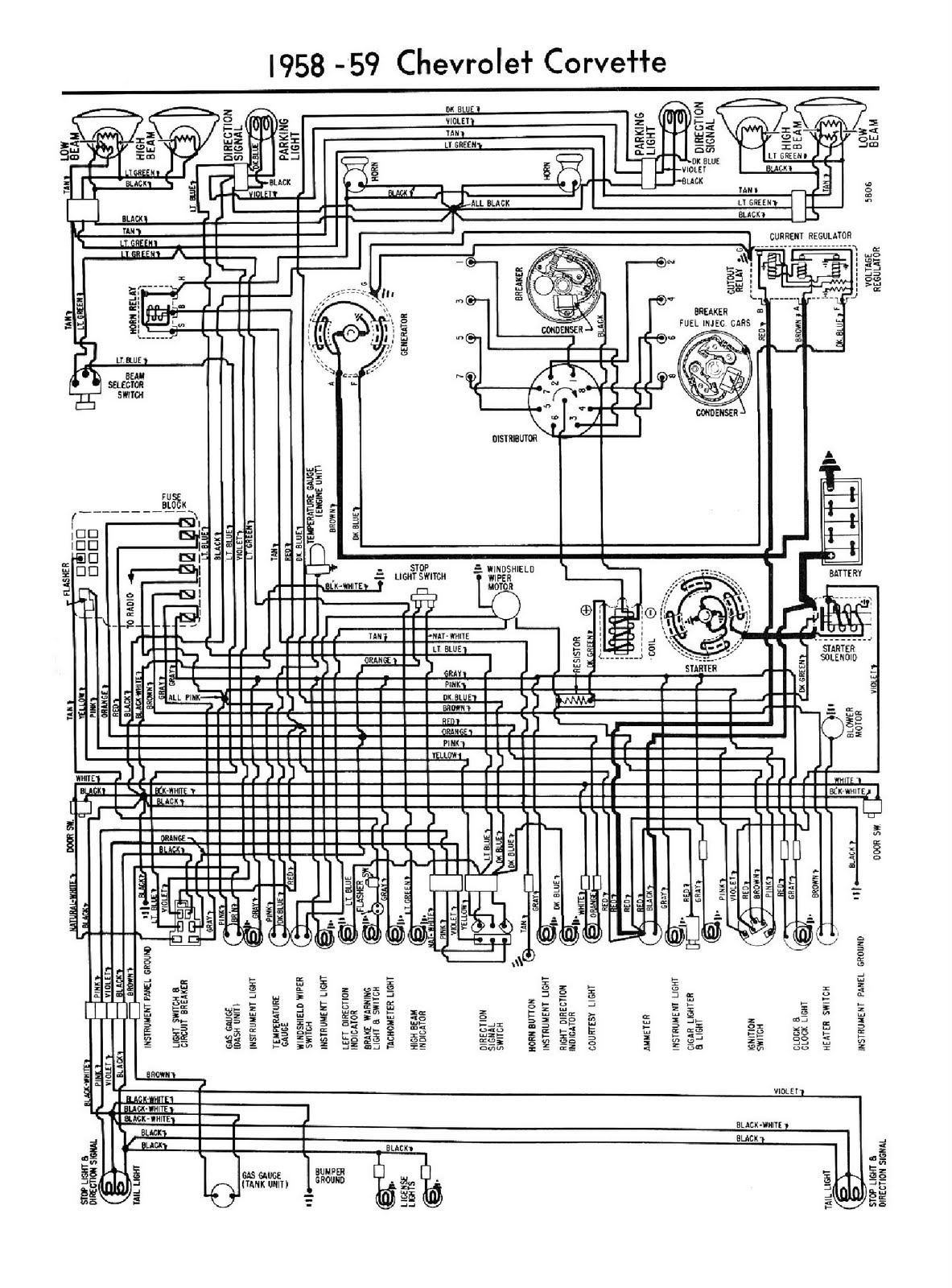 free auto wiring diagram: 1958-1959 chevrolet corvette ... wiring diagram for 1959 chevy truck