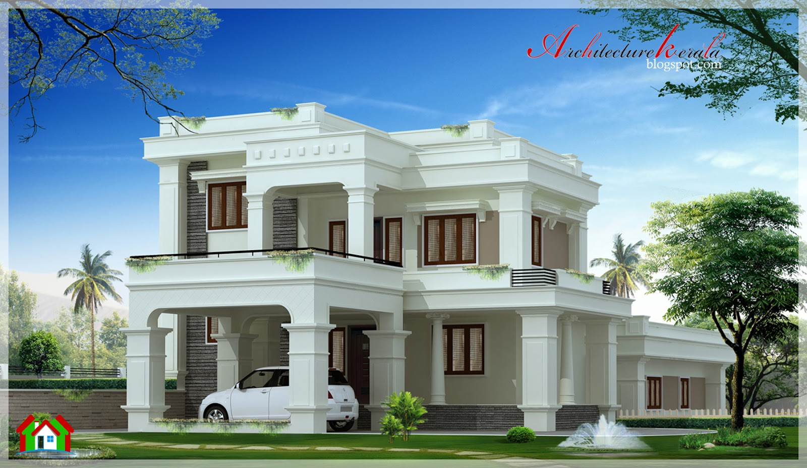 Architecture kerala 2900 square feet beautiful kerala for Beautiful architecture houses