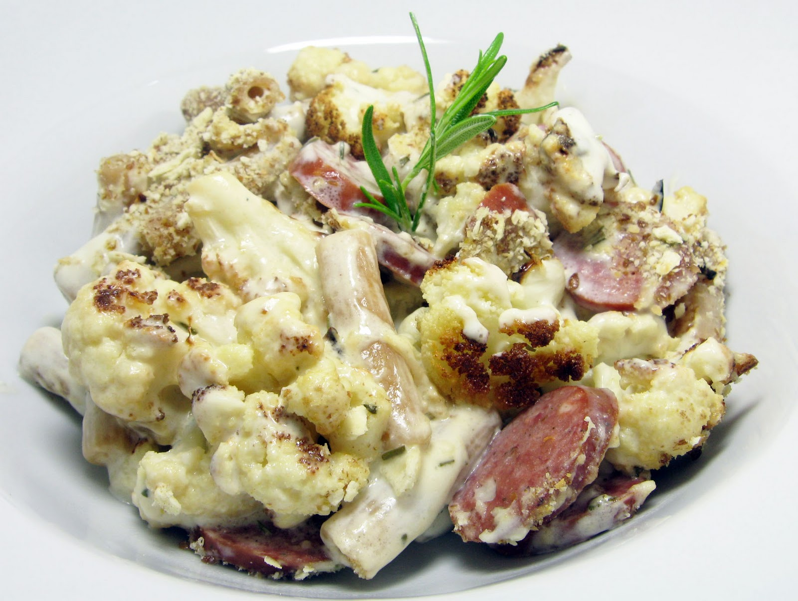 ... Pasta with Creamy Blue Cheese Rosemary Sauce, Roasted Cauliflower and