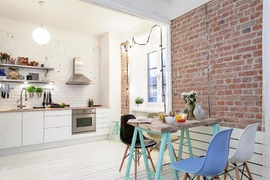 T d c interior brick raw authentic for Interieur suedois