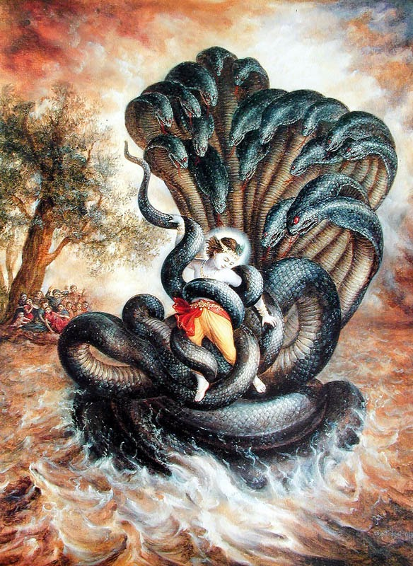 Krishna is enveloped in coils of Kaliya snake