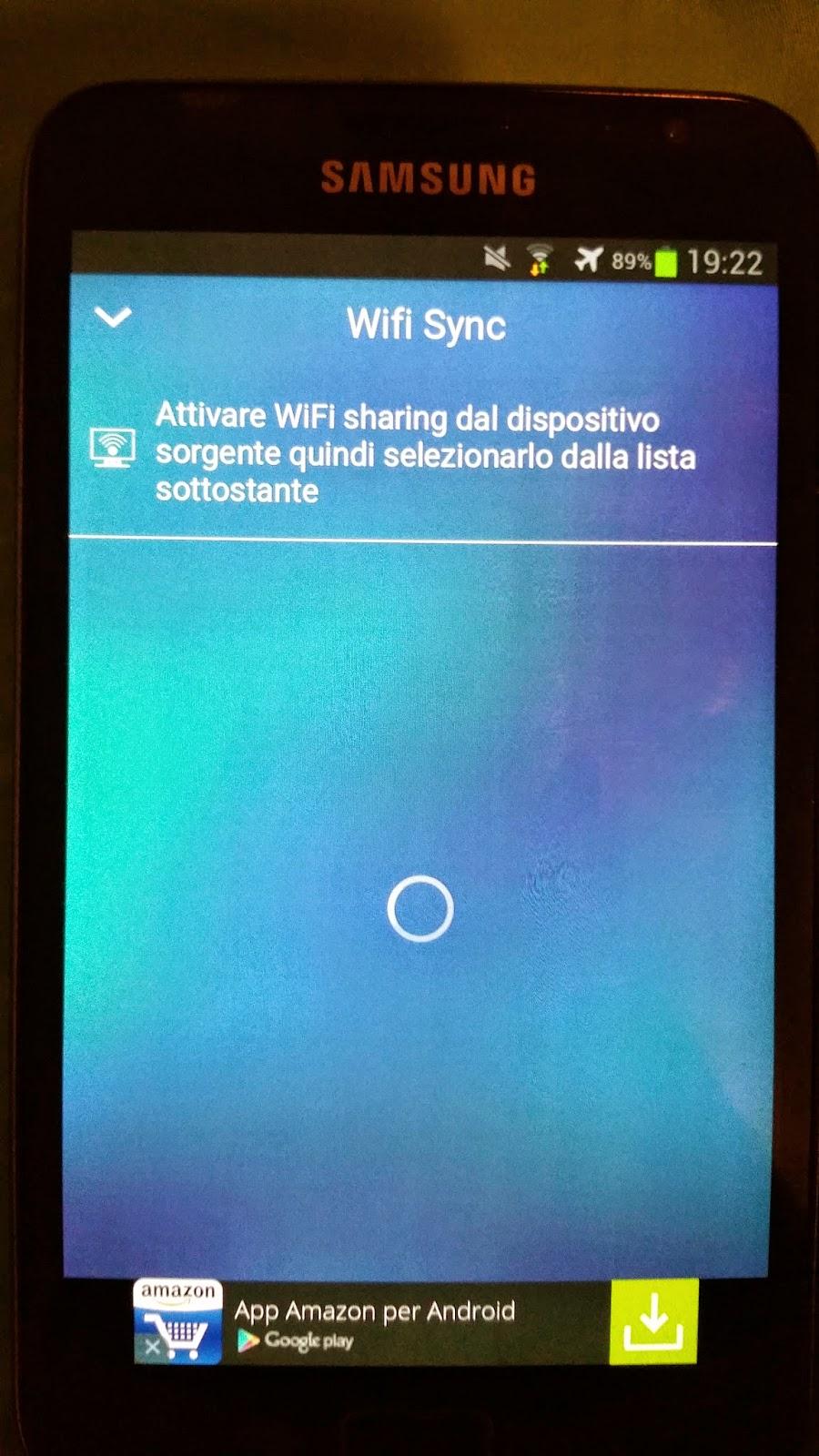 schermata della funzione sincronizzazione wifi tra dispositivi