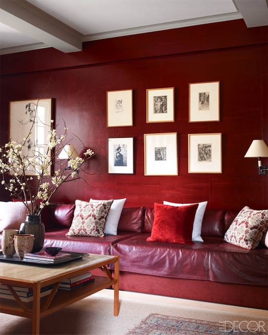 red lacquer walls, art grid, den