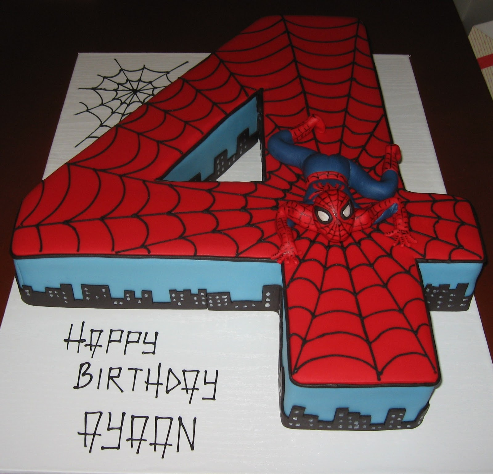 Let them eat cake no 4 spiderman cake for Number 4 decorations